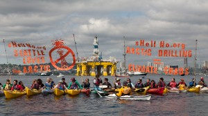 ShellNo flotilla protesters demonstrate in the Puget Sound against the arrival of the Shell Oil Company's drilling rig Polar Pioneer